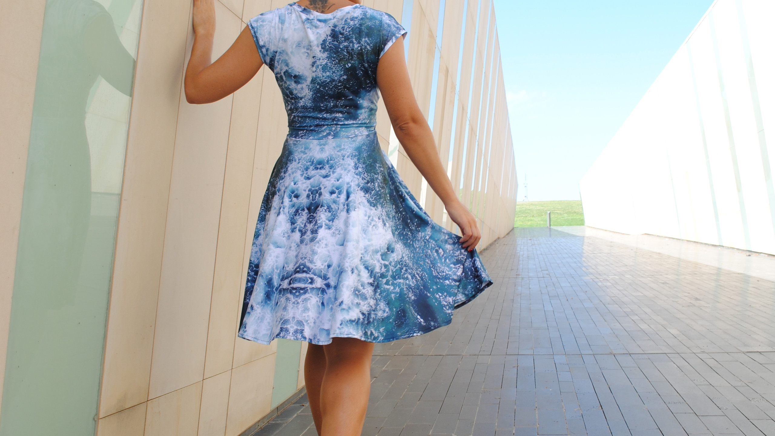 Cross Front Dress in Ocean