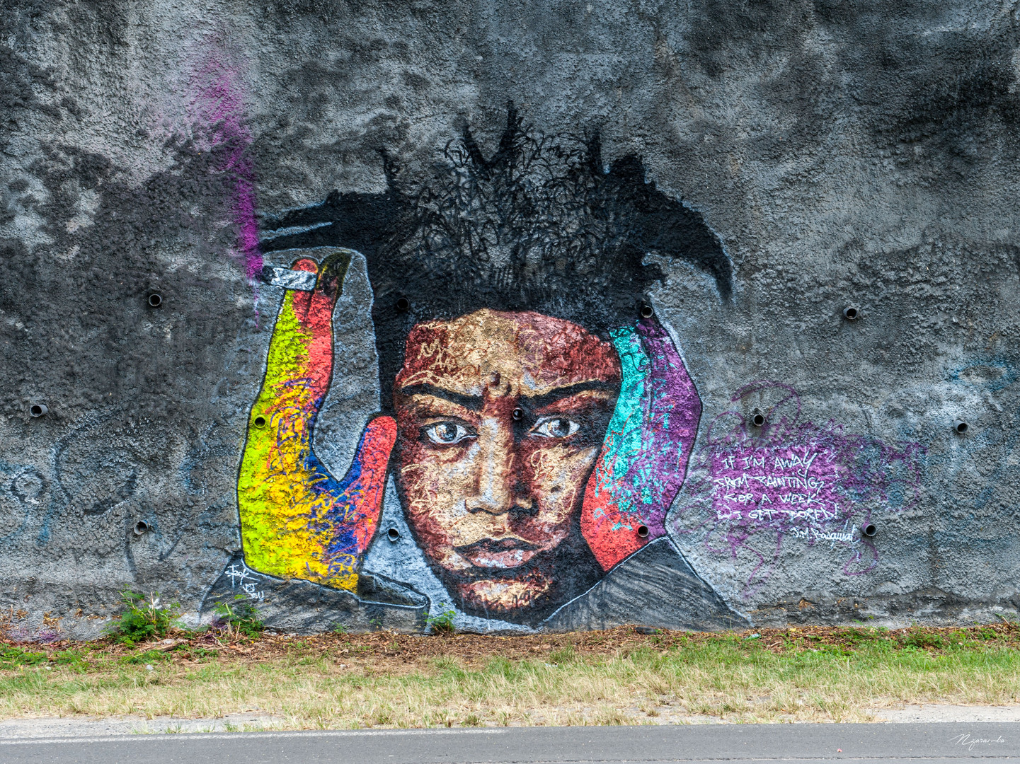 """""""If I'm away from painting for a week, I get bored."""" Jean-Michel Basquiat, by Steek, Le Gosier, Guadeloupe, mai 2015."""