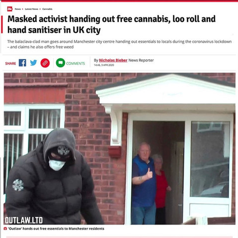 MASKED ACTIVIST HANDING OUT FREE CANNABIS AND OTHER ESSENTIALS
