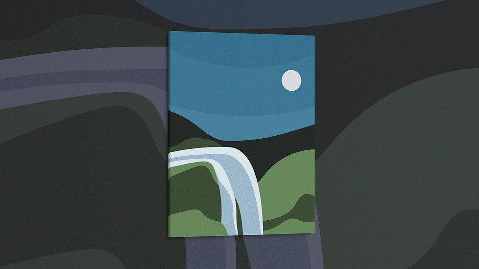 Moonlit Falls - Canvas
