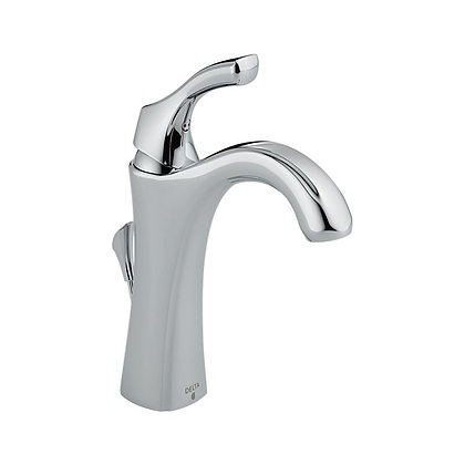 DELTA - SINGLE HANDLE CENTERSET LAVATORY FAUCET. INCLUDES DRAIN