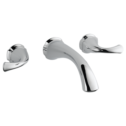 DELTA - TWO HANDLE WALL-MOUNT LAVATORY FAUCET. INCLUDES DRAIN PUSH-UP