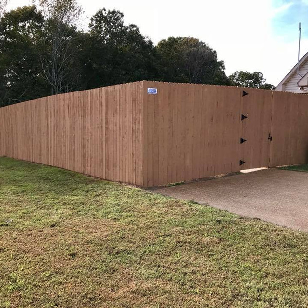 8' Stained Cedar Privacy Fence in Lexington, Tennessee