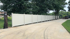 Tan Vinyl Fence in Crump Tennessee
