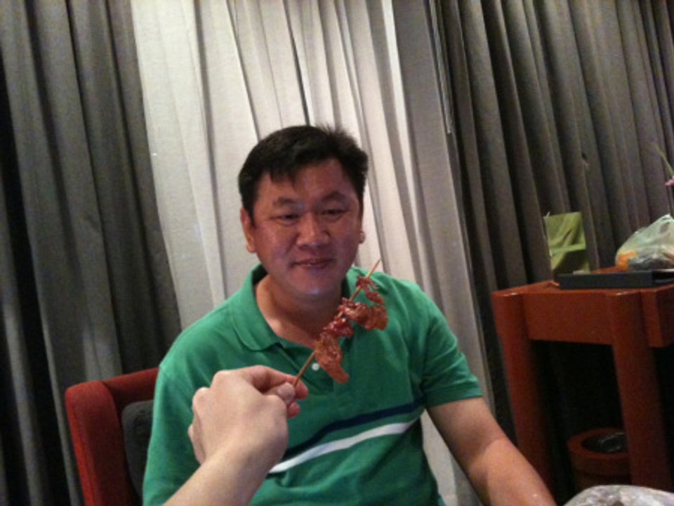 Having our Supper Chicken Wings in the Hotel Room