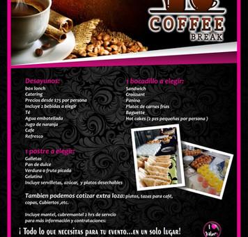 Servcio de Coffe break, catering, desayunos, banquetes, bocadillos, mesas de dulces, barra Snaks