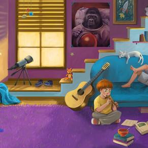 Kinderzimmer Sommerferien Buch-Illustration