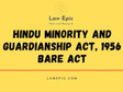 HINDU MINORITY AND GUARDIANSHIP ACT, 1956 BARE ACT