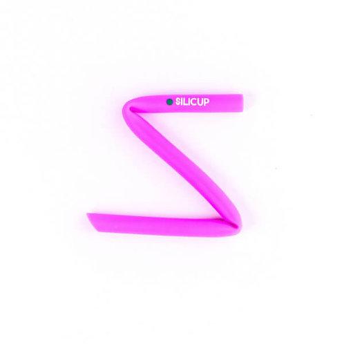 Canudo Reutilizável de Silicone Rosa (25cm) com escova - SILICUP