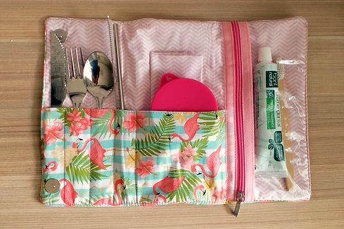 Kit Lixo Zero Flamingos com escova e pasta de dente - EMPÓRIO BIO