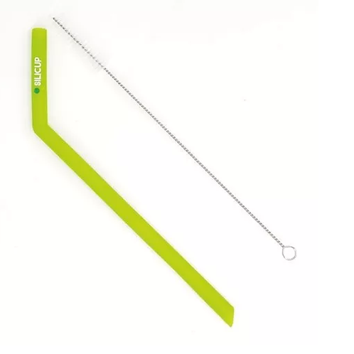 Canudo Reutilizável De Silicone Verde (25 Cm) Com Escova - SILICUP