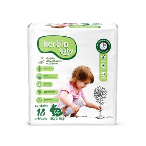 Fralda Ecológica Descartável GG Baby 12 Kg à 15 Kg (18 unid) HERBIA