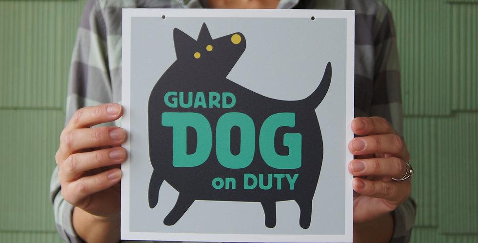 "Green ""Beware of Guard Dog"" Sign, 8"" Square, for Interior/Window"