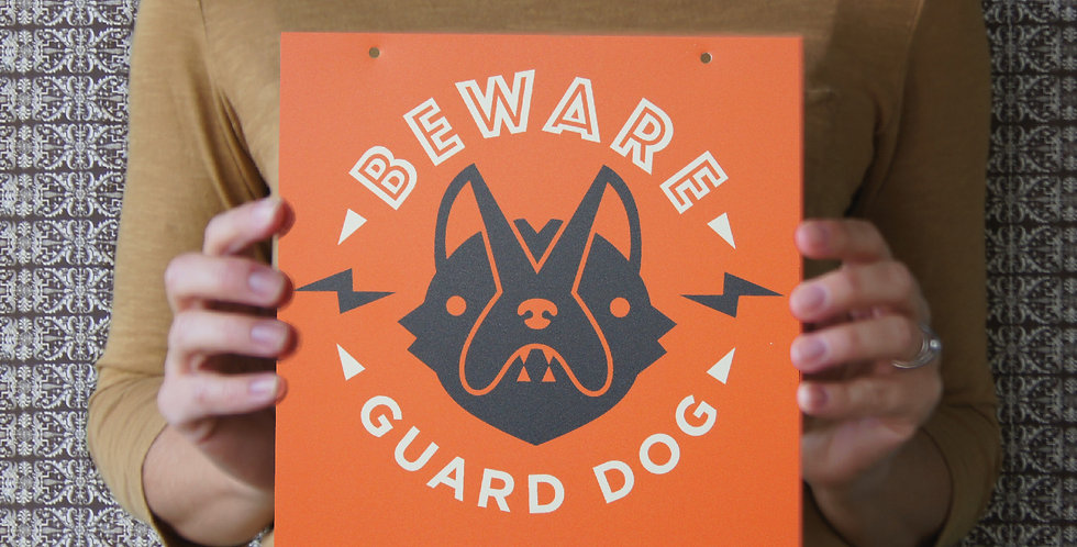 """Red """"Beware of Guard Dog"""" Sign, 8"""" Square, for Interior/Window"""