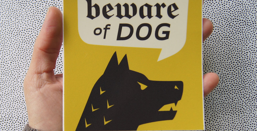 """(Quantity 2) - Yellow """"Beware of Guard Dog"""" Window Decals, 4"""" Square"""