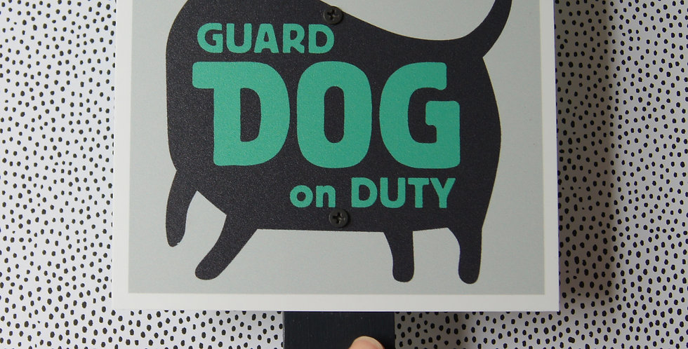 "Green ""Beware of Guard Dog"" Sign, 6"" Square on Stake for Yard/Outdoor Use"