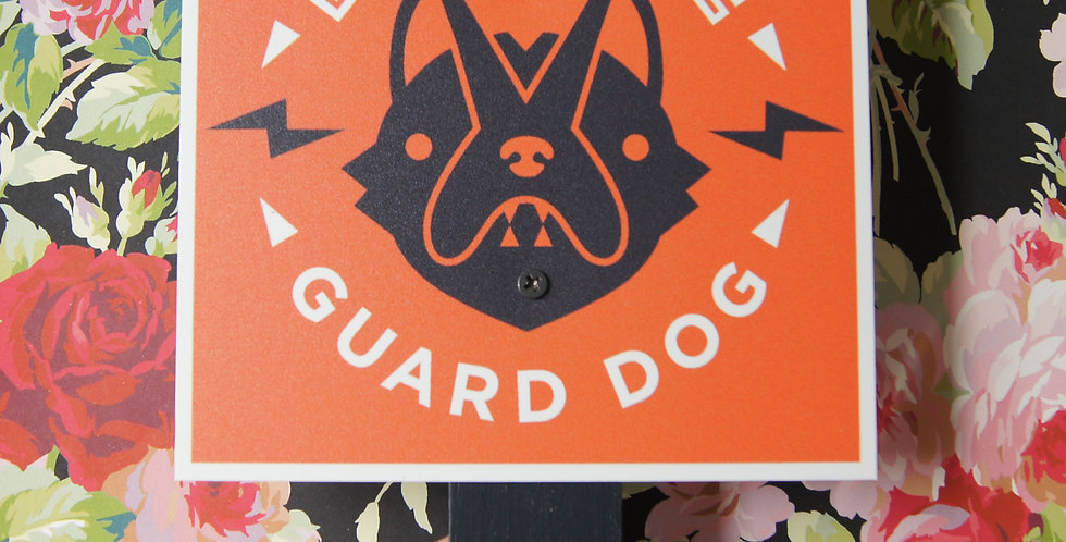 "Red ""Beware of Guard Dog"" Sign, 6"" Square on Stake for Yard/Outdoor U"