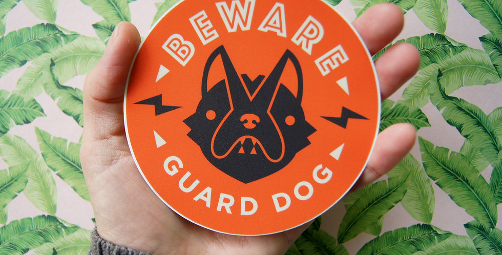 """(Quantity 2) - Red """"Beware of Guard Dog"""" Window Decals, 4"""" Circle"""