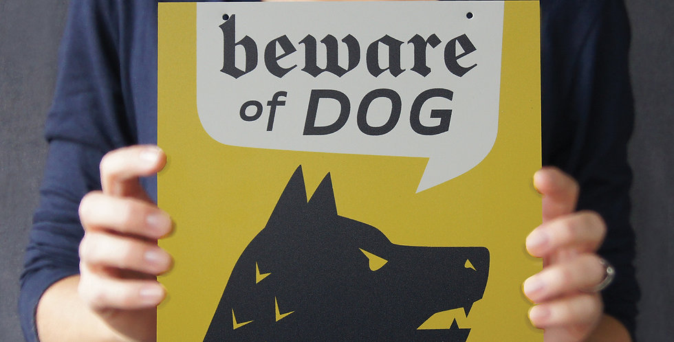 """Yellow """"Beware of Guard Dog"""" Sign, 8"""" Square, for Interior/Window"""