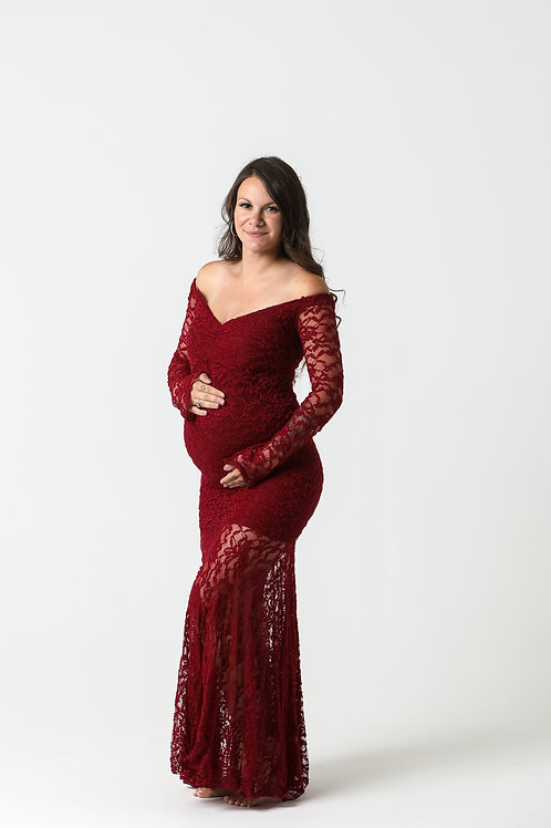 Wine Lace Gown 22