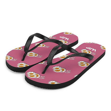 Pink Flower Flip-Flops