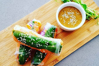 It's still rainbow rice paper roll weather! Served with our next level hoisin-style dippin