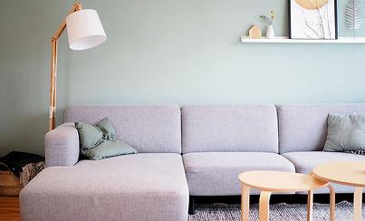 Sofa, Wohnzimmer, Wandfarbe, Stehleuchte