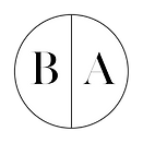 B+A Black Letters & White Center Circula