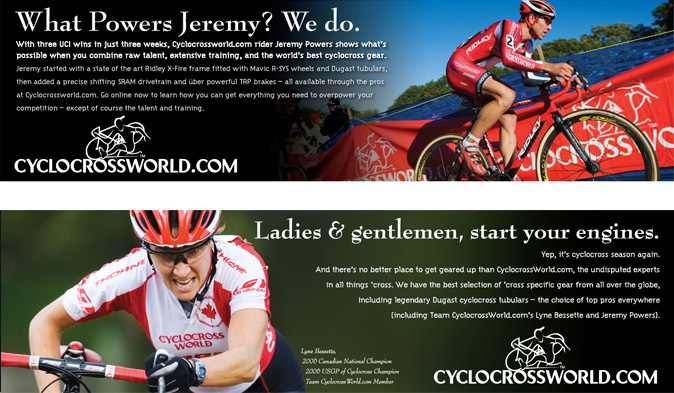CyclocrossWorld wide ads