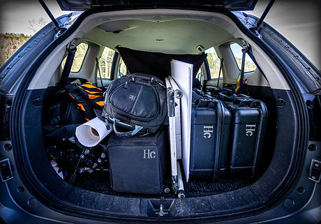 Car loaded for location shoot