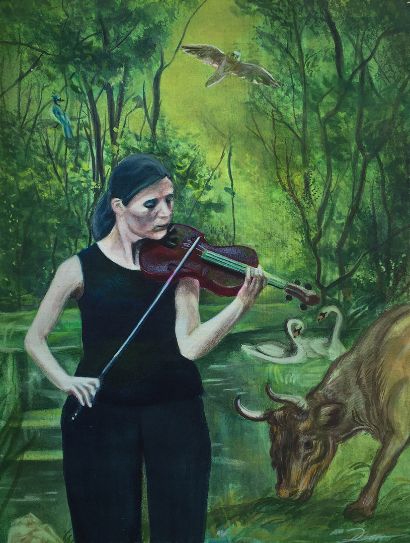 Violinist in the Forest