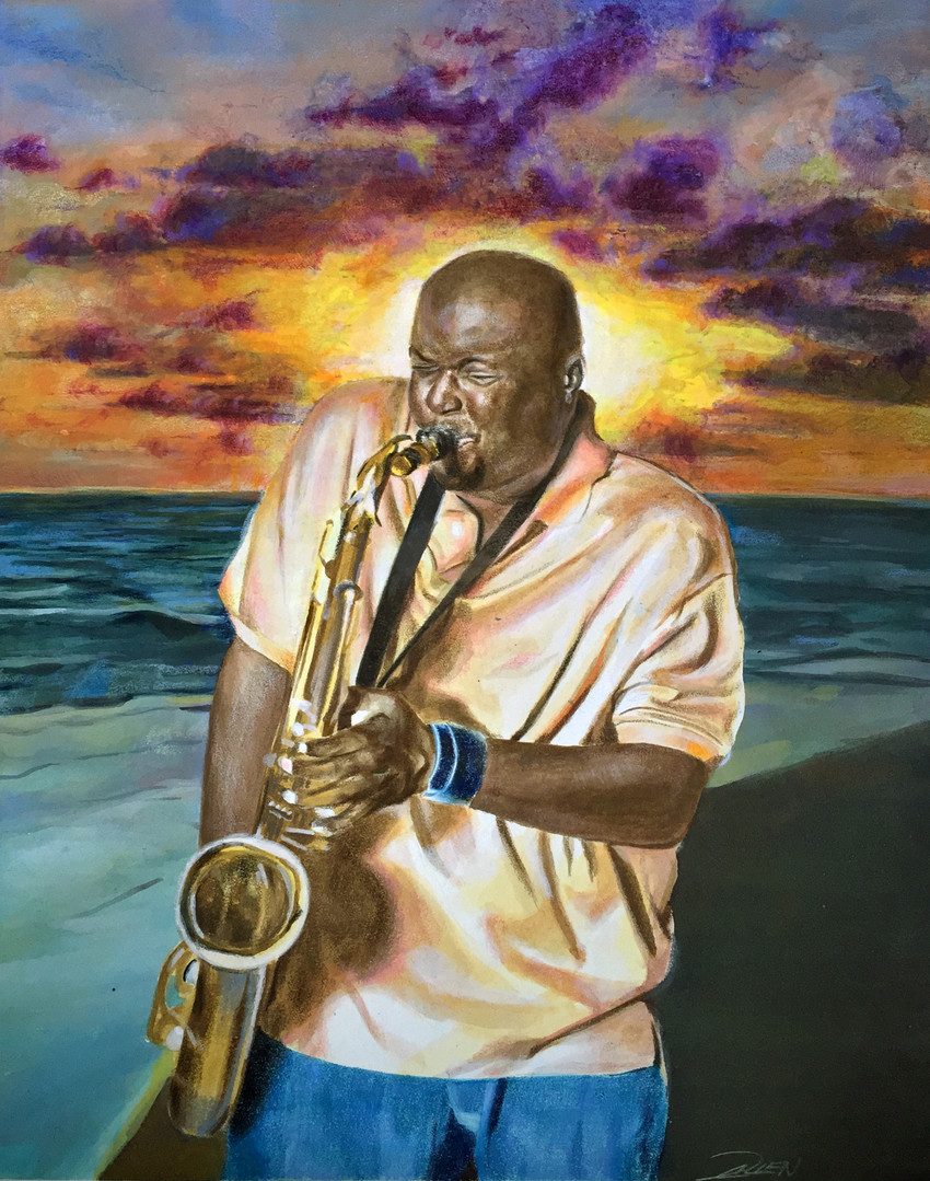 Saxophonist on the Beach