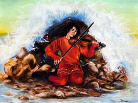 Violin on some rocks