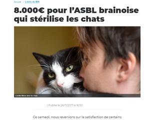 EM dans la presse : 8.000€ pour l'ASBL brainoise qui stérilise les chats (La Province)
