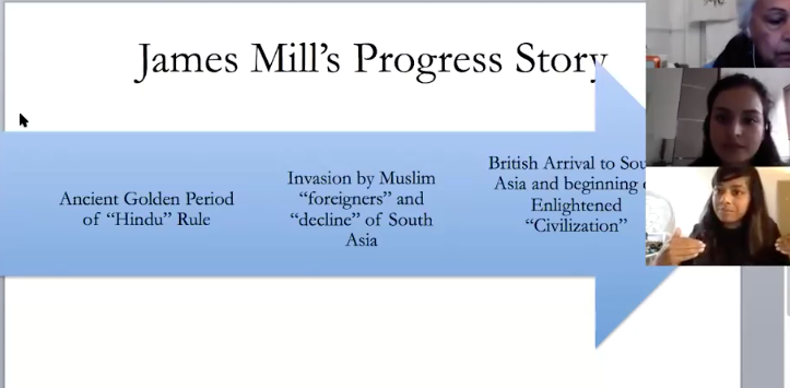Slide from Part 2 of the teach-in with panel participants describing James Mill's story about India and British rule.