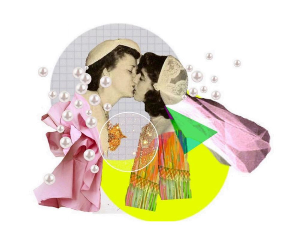 A collage of two women kissing.