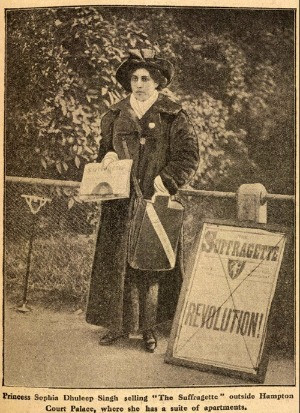 Black and white newspaper clipping of Sophia Duleep Singh selling feminist literature
