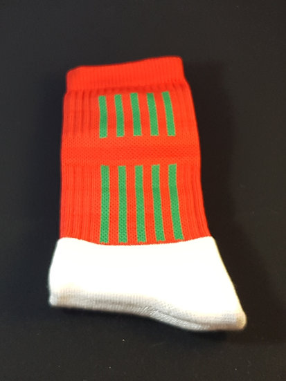 Red sock with green stripes