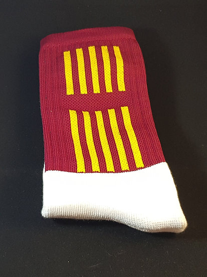Maroon sock with gold stripes