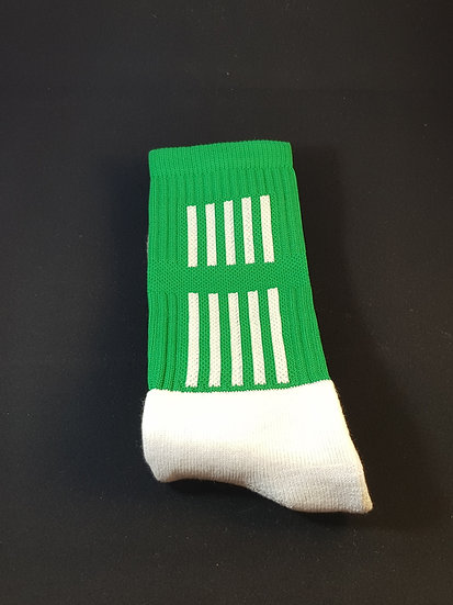 Green sock with white stripes
