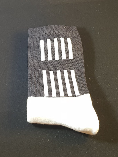 Black sock with white stripes