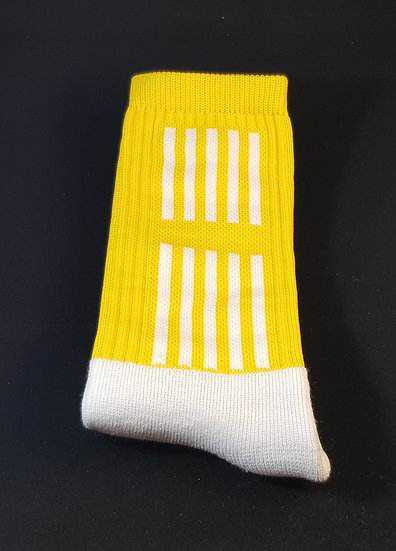 Yellow sock with white stripes