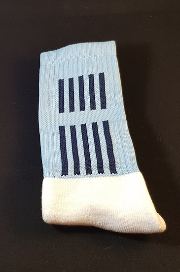 Sky blue sock with navy stripes