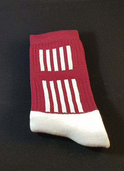 Maroon sock with white stripes