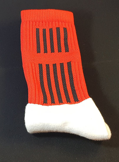 Red socks with black stripes