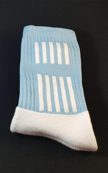 Sky blue sock with white stripes