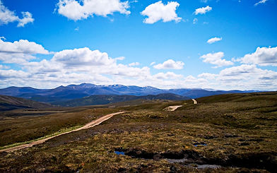 Descending Bealach Dearg with Lochnagar