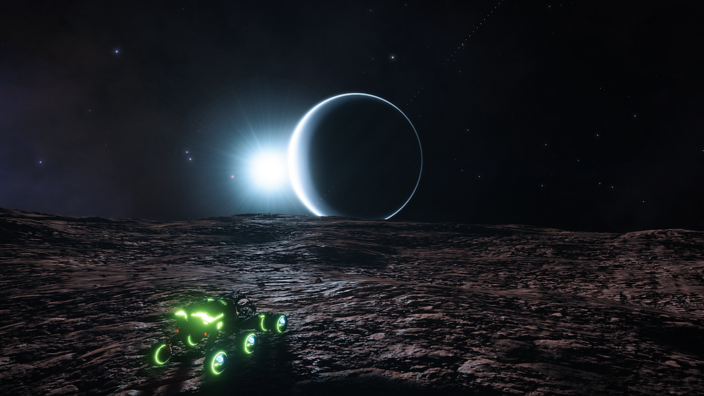 SRC on moon surface with ringed planet rising over horizon with star behind