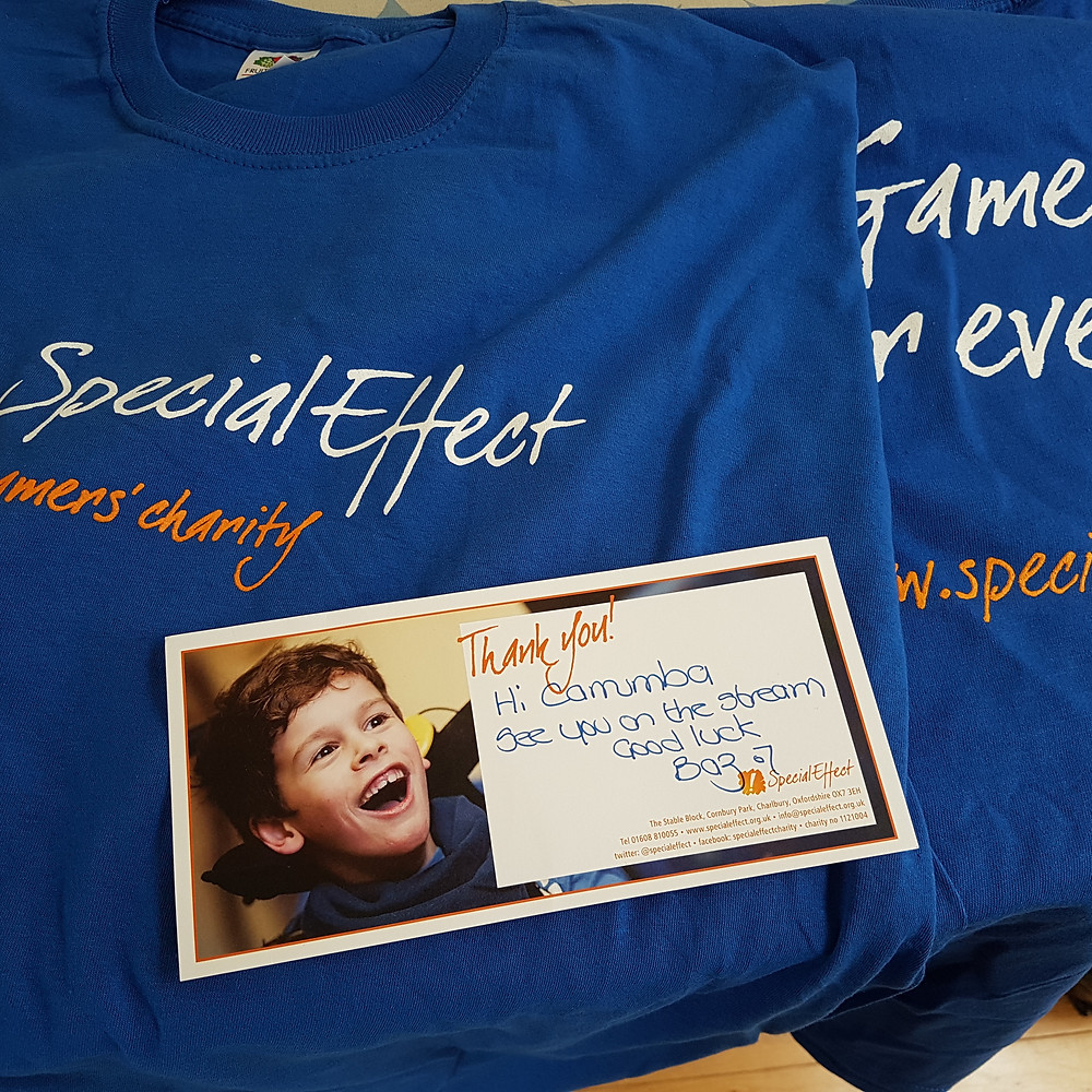 """Picture of t-shirts for Special Effect charity. """"The Gamers' Charity"""""""