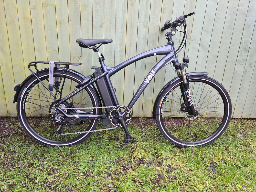 Black Volt Pulse electric bike on garden grass leaning against green wood fence